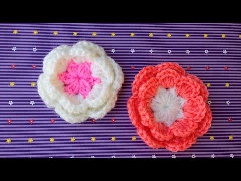 Hướng dẫn móc hoa hồng: Mẫu hoa hồng 2 lớp