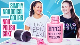 How To Make A NAIL POLISH BOTTLE CAKE with SIMPLY NAILOGICAL! Pink Ombré Cake And A Shimmery Luster!