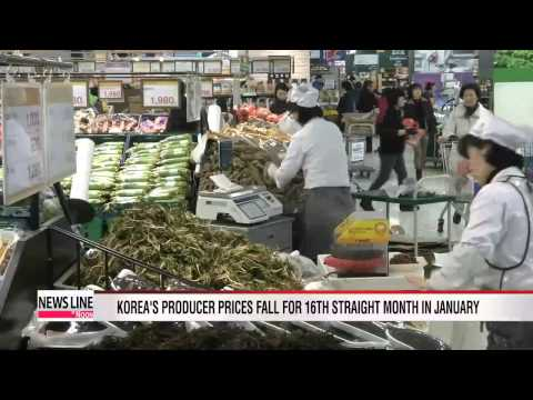 Korea's producer prices fall for 16th straight month in January