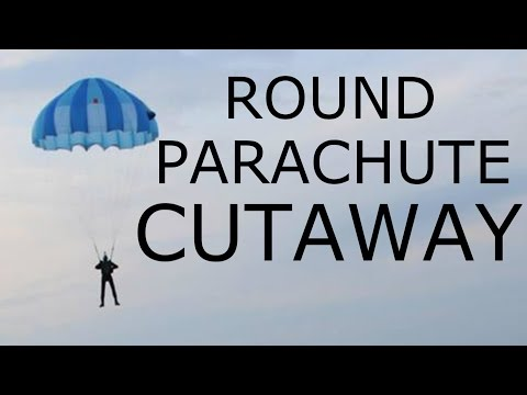 World's FIRST Round parachute cutaway to BASE jump parachute belly mounted