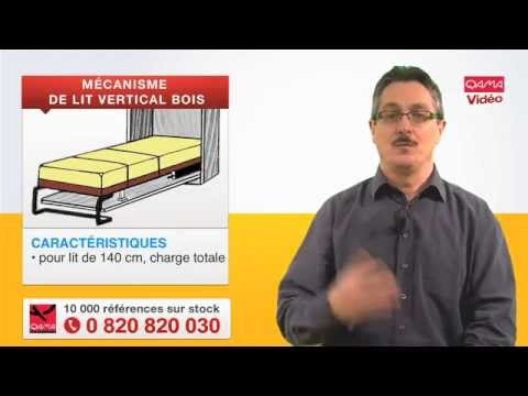 M canisme de lit escamotable vertical pour cadre bois par for Charniere pour lit escamotable