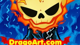 How To Draw Chibi Ghost Rider, Ghost Rider, Step By Step