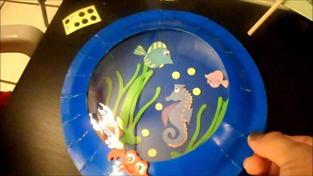 Kids Fun Crafts Aquarium Card And Plate Youtube