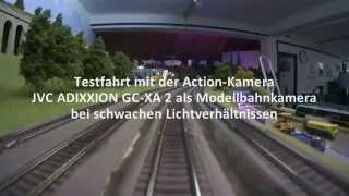 JVC Adixxion GC-XA 2 als Modellbahnkamera im Schattenbahnhof