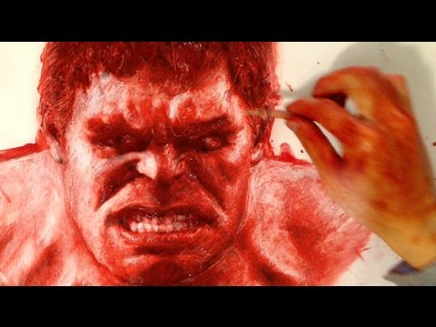 drawing red Hulk with Blood - Halloween Special