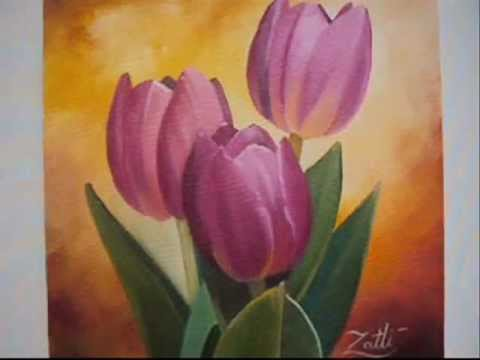 COMO PINTAR TULIPAS - HOW TO PAINT TULIP