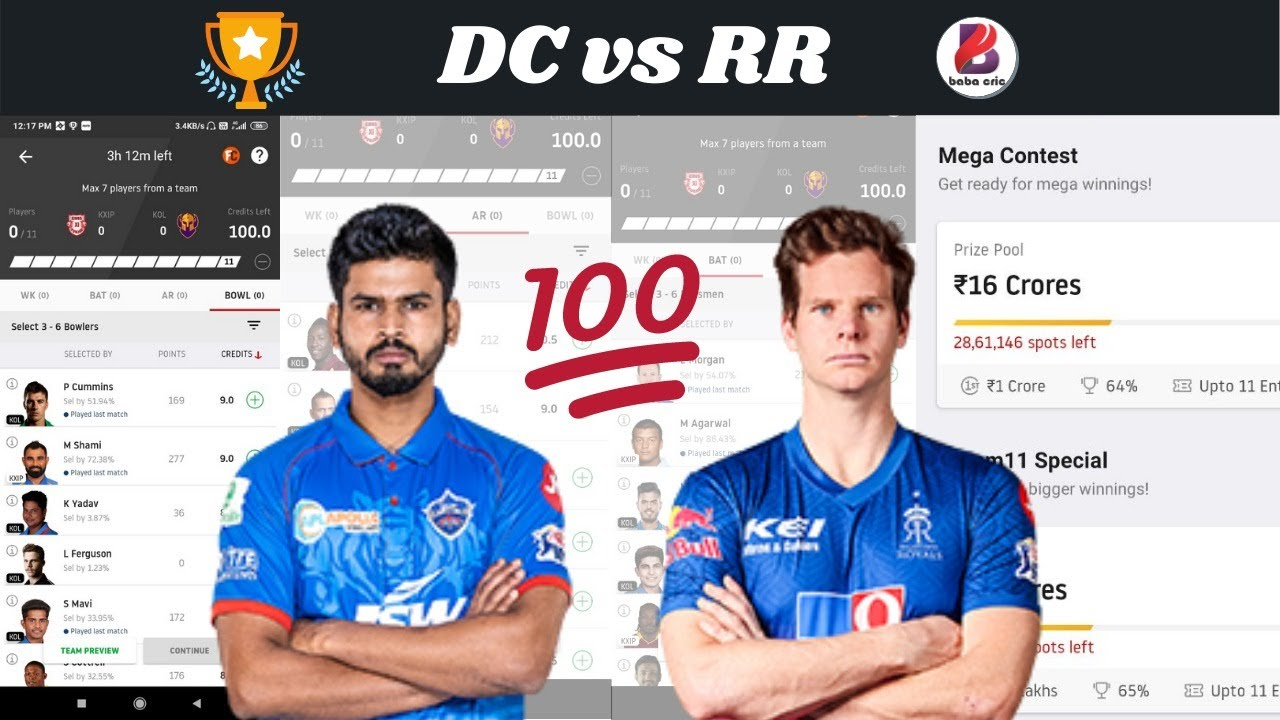 Live - DC vs RR Dream11 Prediction
