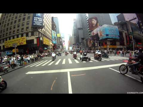 Times Square Motorcycle flash mob 8/19/12  or Hollywood 2012 Block Party (Time Square footage)