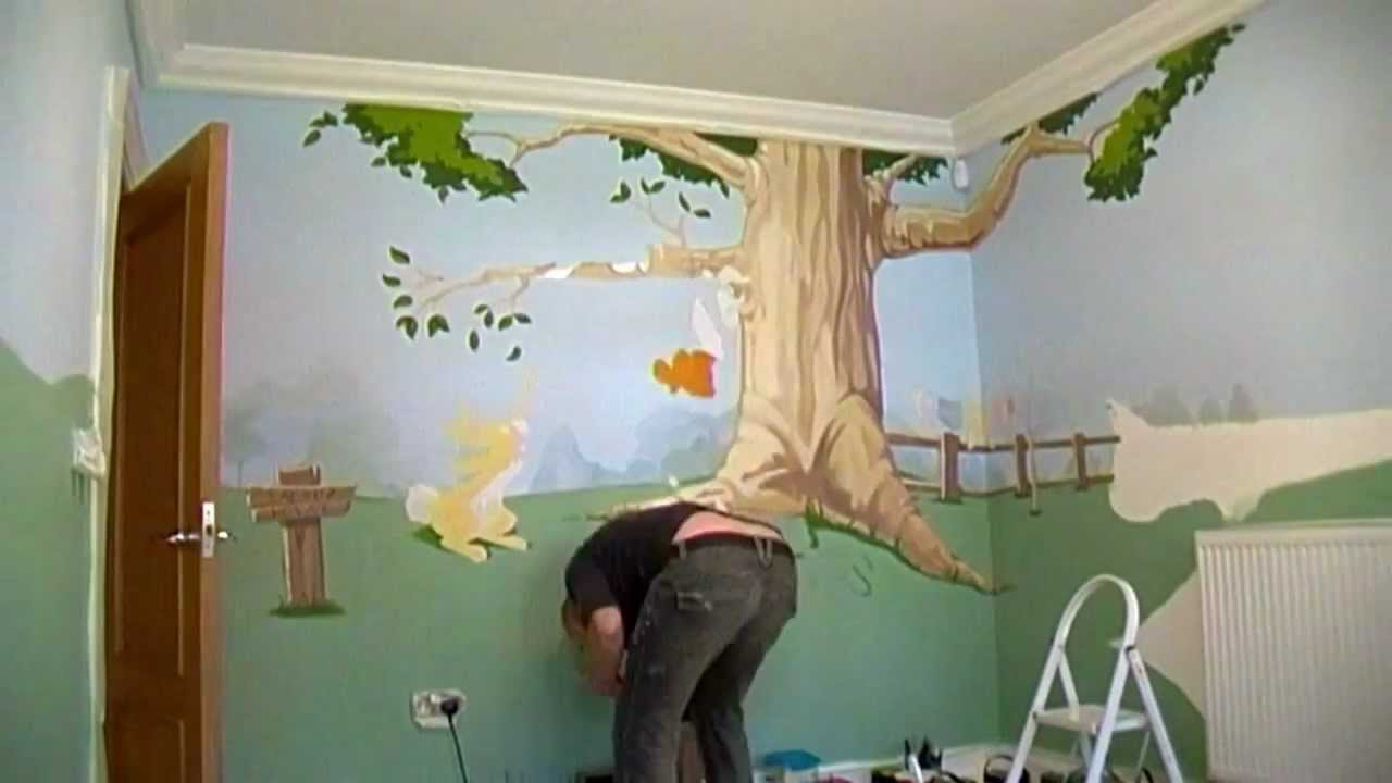 Winnie the pooh bedroom mural wall 1 time lapse youtube for Bedroom mural painting