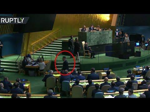 مندوب كوريا الشمالية يخرج من قاعة الجمعية العامة قبيل كلمة ترامب