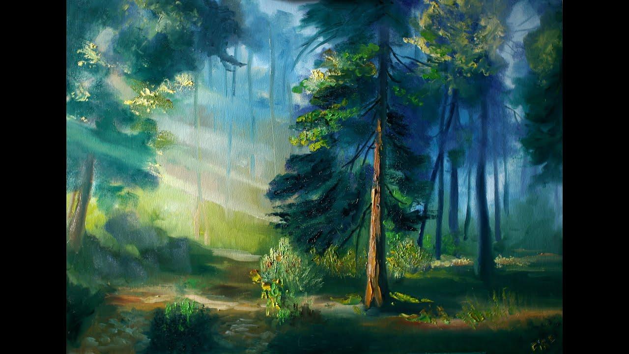 Видео рисуем лес маслом