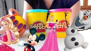 Play Doh Surprise Eggs Frozen, Barbie, Disney Princess