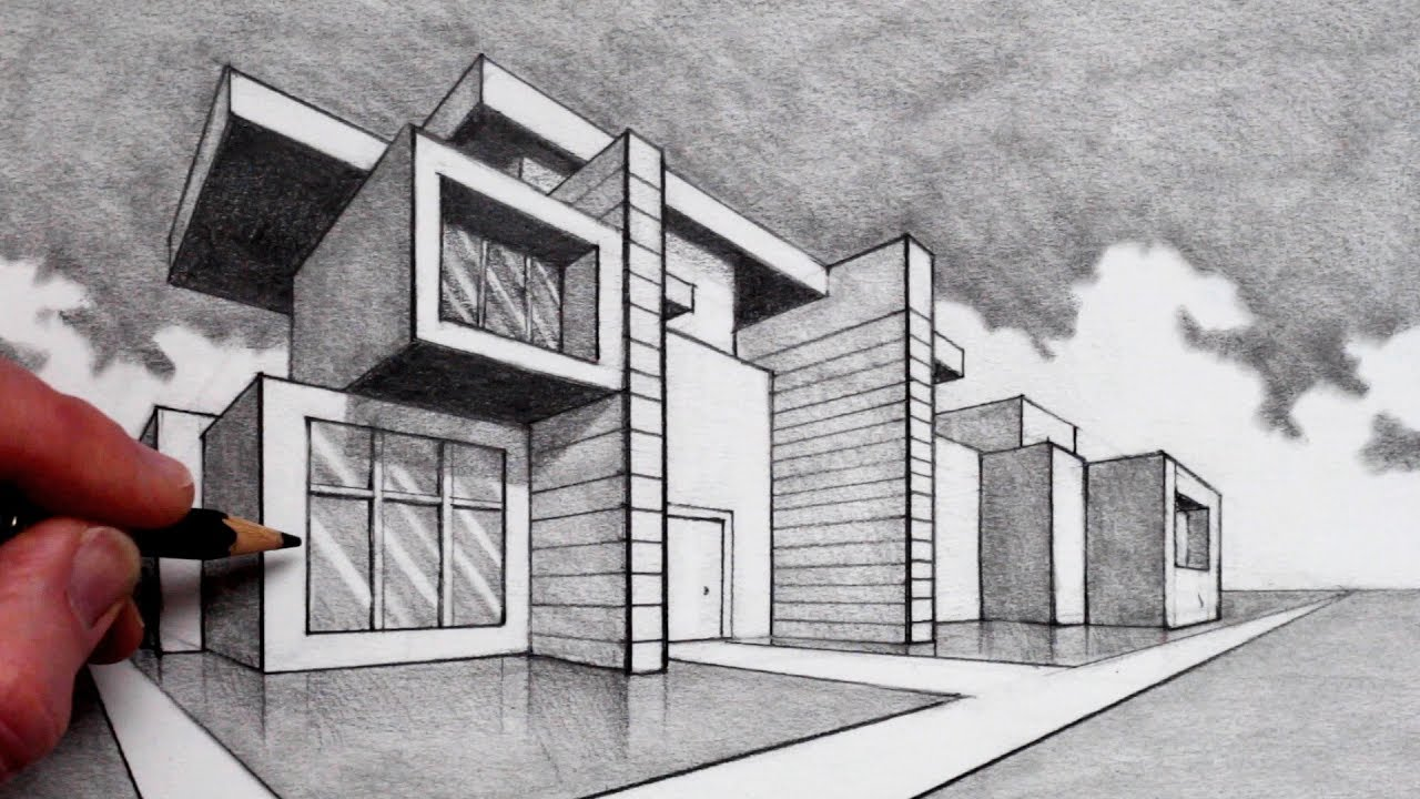 How to draw in 2 point perspective modern house