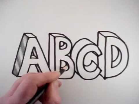 картинки как нарисовать объемные буквы поможем