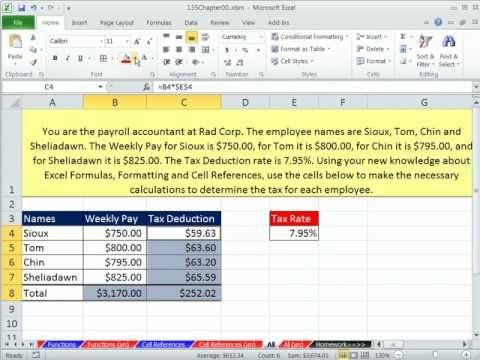 Excel 2010 Business Math 09: Summarize Formula Inputs, Formulas & Stylistic Number Formatting