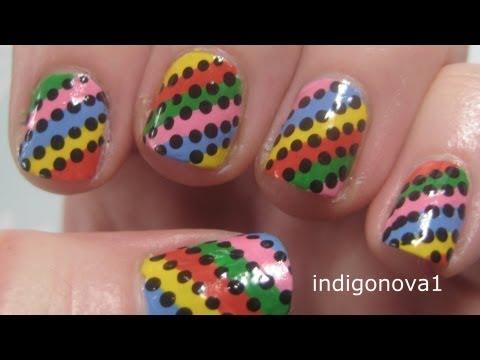 Easy Rainbow Stripes Beginners Nail Art Tutorial On Short Nails