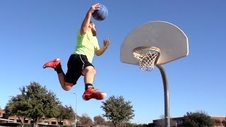 High Fiving White Guys Slam Dunking Basketballs from Trampolines