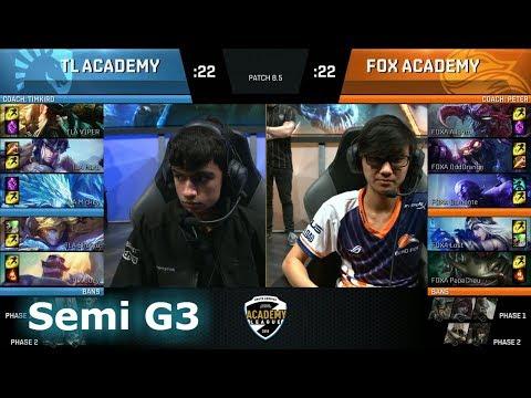Echo Fox Academy vs Cloud 9 Academy | Game 3 Semi Finals NA Academy League Spring 2018 | FOXA vs TLA