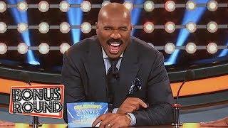 FUNNY PODIUM MOMENTS on Celebrity Family Feud! Steve Harvey Looks Confused!!