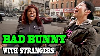 Singing BAD BUNNY with Strangers!!! - SINGING IN PUBLIC (Trivia Challenge)