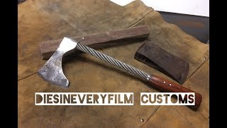 Custom axe with steel wire handle