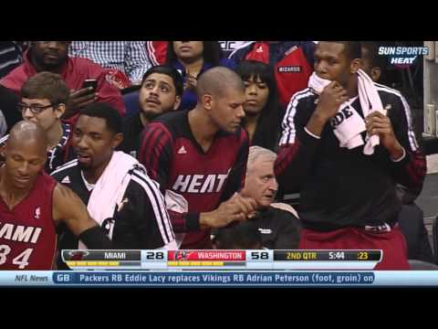 Greg Oden first points with the Miami Heat