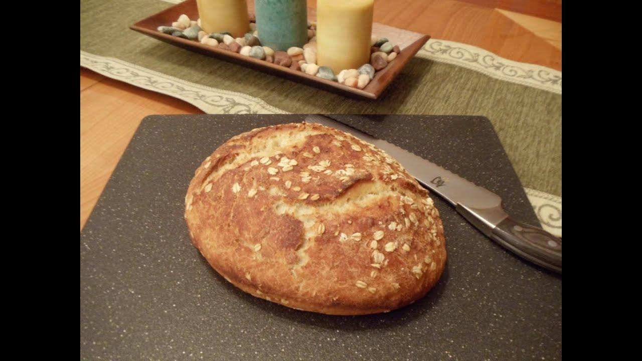 No-Knead Honey Oatmeal Bread (Easy... No Mixer... No Yeast Proofing ...