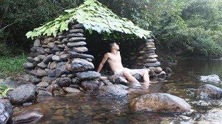 Primitive Technology: Build a Stone Hut on the Stream