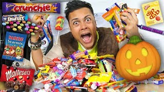 EATING ALL BRITISH HALLOWEEN CANDY !!! (TRICK OR TREAT)