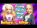 DIY Thrift Shop Barbie Doll Makeover Hairstyles and Dress Up