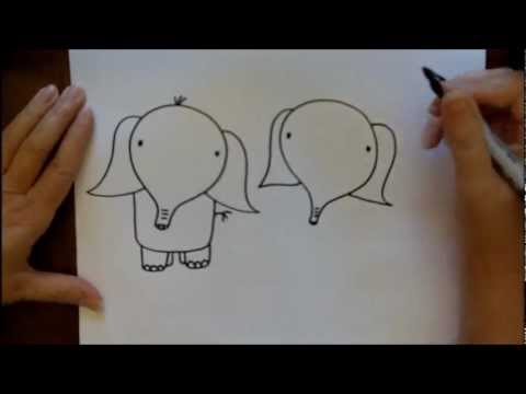 how to draw a easy elephant step by step