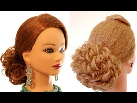 Hairstyle for long medium hair. Updo hairstyles. - YouTube