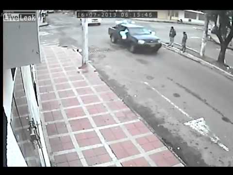 Accident at intersection caught on CCTV