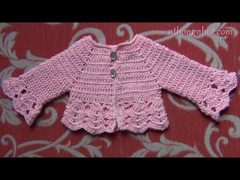 Hướng dẫn móc áo len cho bé gái 0 - 3 tháng (1/2)