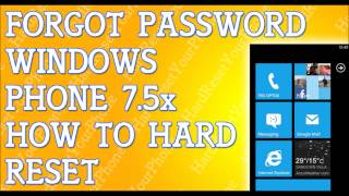 Forgot Password Windows Phone 7.5 How To Hard Reset 920