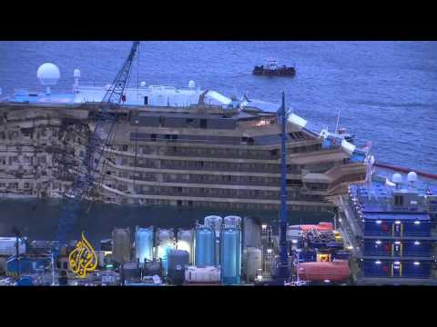 Costa Concordia cruise liner set upright