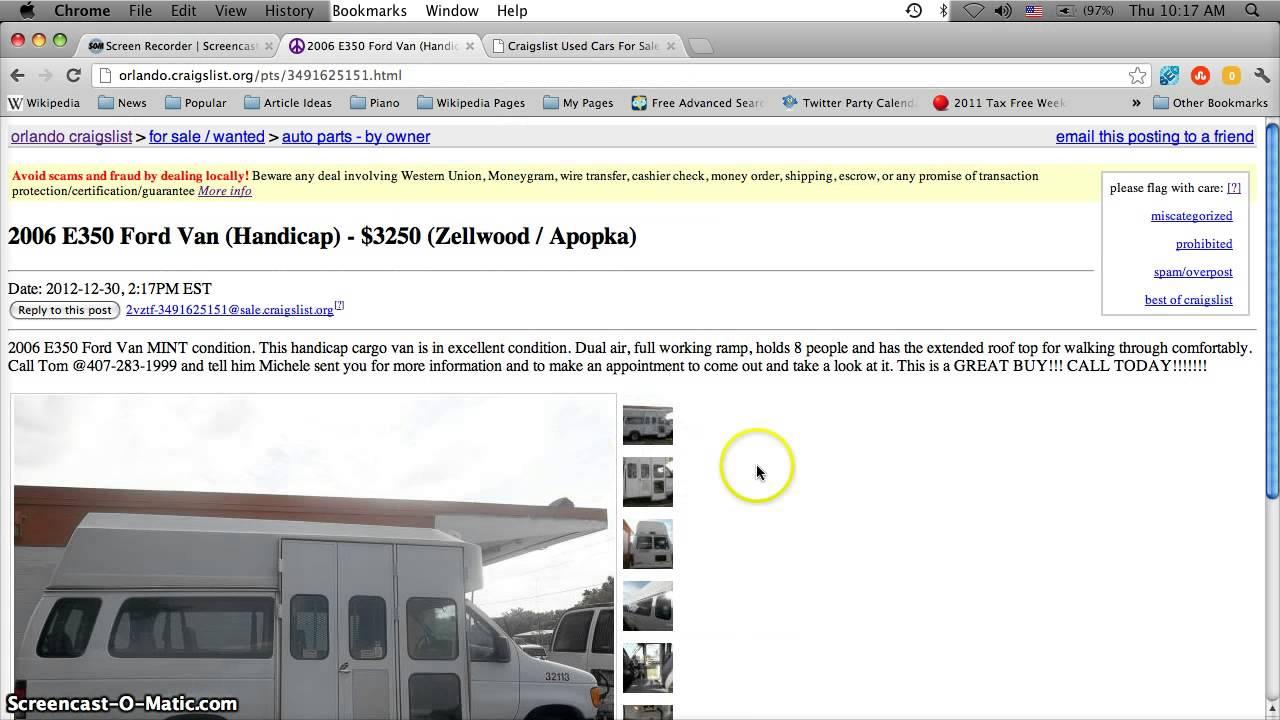 Craigslist Handicap Vans for Sale by Owner in Florida ...