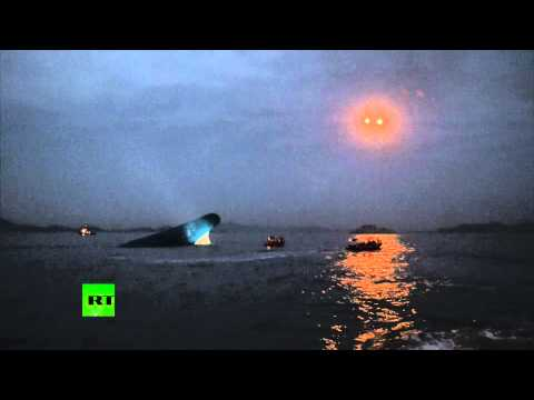 Latest footage: Darkness descends on South Korea ferry disaster rescue-op scene