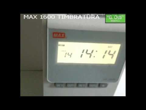 MAX1600 Timbracartellino marcatempo timbratura con conteggio ore lavorate giornaliere