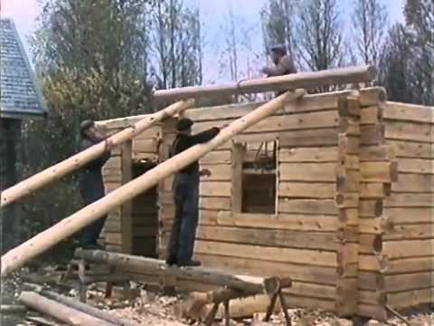 Traditional finnish log house building process youtube for Log construction