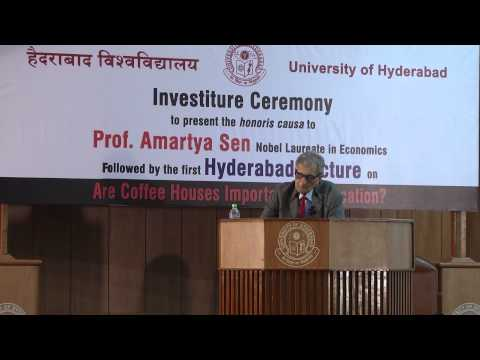 Prof  Amartya Sen   Investiture & Hyderabad Lecture#1