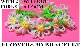 HOW TO MAKE FLOWERS 3D BRACELET WITH 2 FORKS. WITHOUT