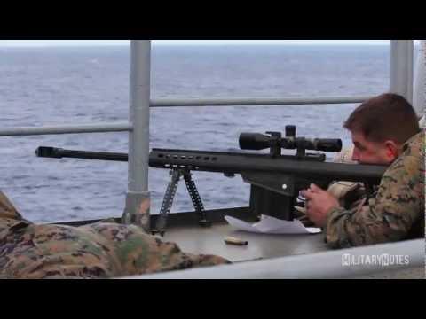 USMC Scout Snipers vs small boat (Barrett M107 .50 BMG Rifles)