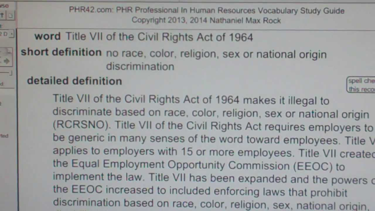 title vii of the civil rights act of 1964 essay This paper briefly describes how title vii of the civil rights act of 1964 was enacted into law, its purpose and what rights it is intended to safeguard.