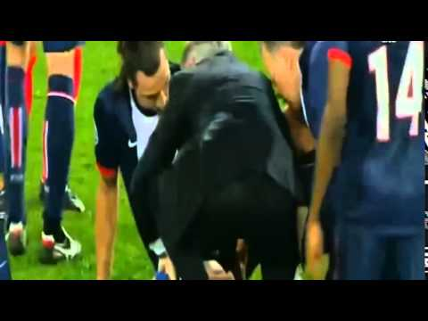 David Luiz Horrific TACKLE on Zlatan Ibrahimovic (Injury) - PSG vs Chelsea 2014 HD