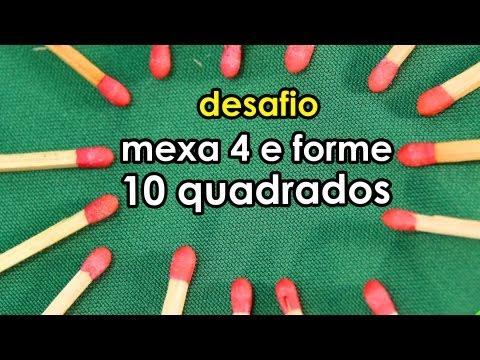 Desafio de palitos: mexa 4 e forme 10 quadrados