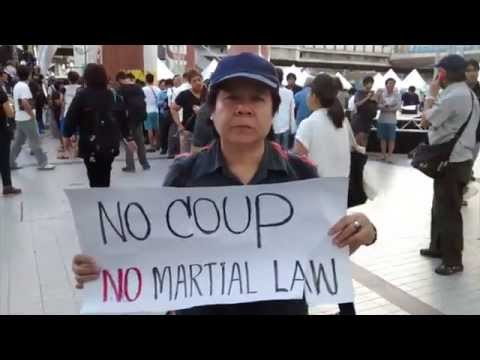 Protesters denounce the Thai military coup
