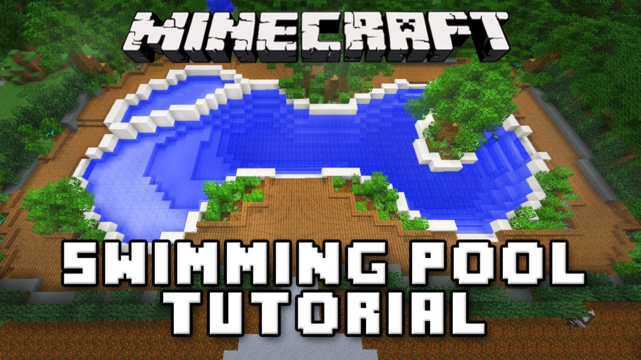 Minecraft tutorial how to make a swimming pool and spa for Modern house ep 9