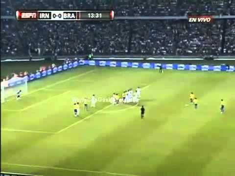 Brazil vs Iran 3-0 Dani Alves Amazing Goal Free Kick Long Shot Goal - Brazil 3-0 Iran 2010 Friendly