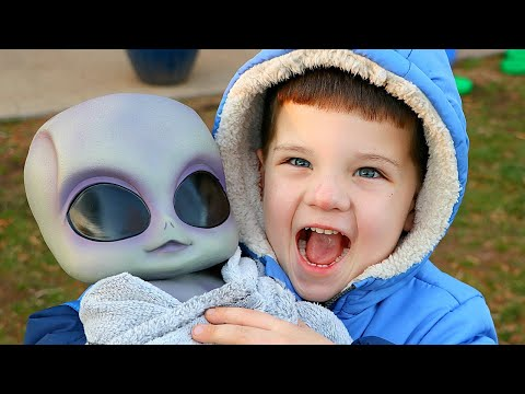 Caleb Pretend Play with UFO Baby Alien from Outer Space